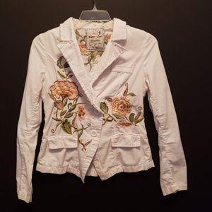 Sugar Lips Jacket Size Medium Embroidered Flowers